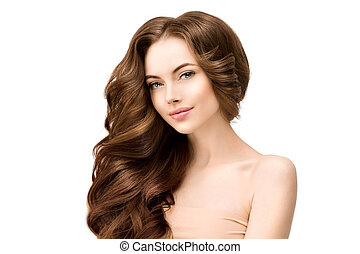 Beautiful Young Model Woman with shiny voluminous wavy long hair. Clean Fresh Skin Care Concept. Beauty portrait of female. Facial treatment . Fashion girl isolated on white. Cosmetology, spa.