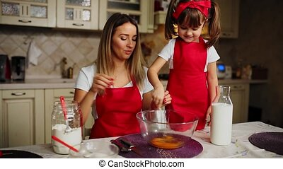 Beautiful young mother helping her little daughter along to cook cake in red aprons. Pour the flour into a bowl and beat the batter to make a cake in the kitchen.