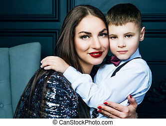 beautiful young mother with her son