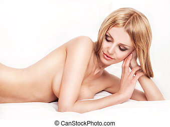 nude woman - beautiful young nude woman in bed at home