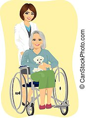 beautiful young nurse pushing senior woman with cute labrador puppy in wheelchair