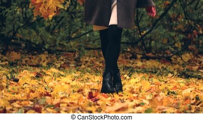Beautiful young pregnant woman walking in autumn park and collecting fallen leaves