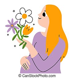 Beautiful young pregnant woman with flowers, vector illustration