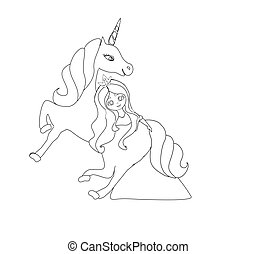 Beautiful young princess and unicorn, coloring book
