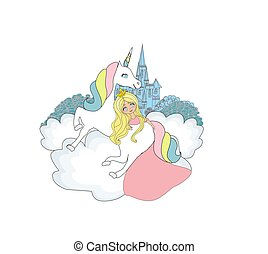 Beautiful young princess and unicorn - doodle Illustration