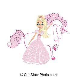 Beautiful young princess and unicorn