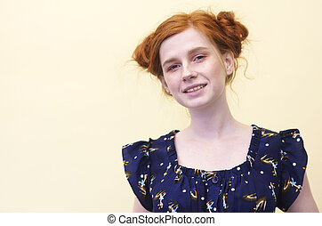 Beautiful young redhaired girl with curly-headed hairs -...