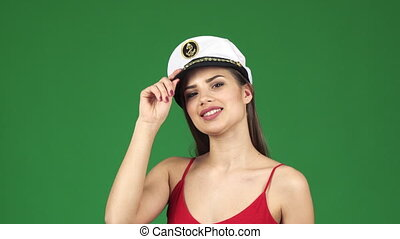 Beautiful young sexy woman smiling joyfully wearing sailor...