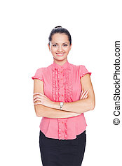 beautiful young smiling business woman standing with hands folded against isolated on white background