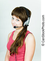 girl in headphones