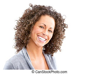 woman - Beautiful young smiling woman. Isolated over white ...