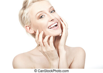 Beautiful young smiling woman. Isolated over white ...