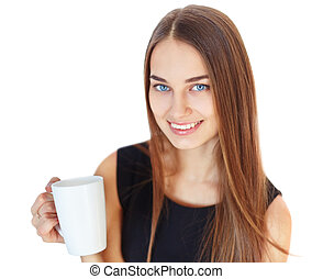 Beautiful young smiling woman with cup