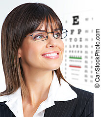 woman - Beautiful young smiling woman with eyeglasses and ...
