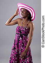 Beautiful young South African woman in bright colours