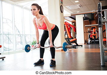 Beautiful young sportswoman doing exercises with barbell in...