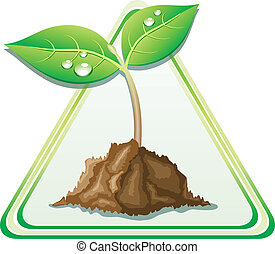 Beautiful young sprout. - Young sprout in ground. Vector...