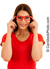 Beautiful young studen with eyeglasses isolated over white background