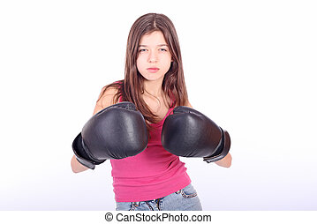 Beautiful young teen girl boxing