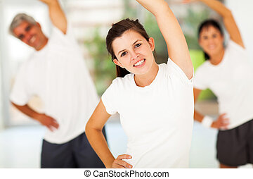 young teen girl working out