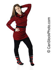 Beautiful Young Teen in Red and Black