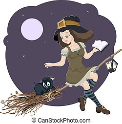 Beautiful young witch broom with ca