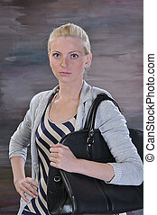 young woman 20-25 years with road bag - beautiful young...