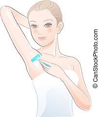 Beautiful young woman applying razor to the shaving armpit. ...