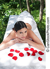 Beautiful young woman at a spa - High angle view of...