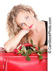 Beautiful young woman blonde romantic red rose