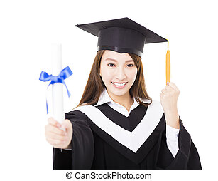 Beautiful  young woman college graduate portrait