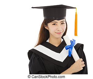 beautiful young woman college graduation isolated