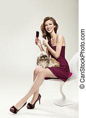 beautiful young woman comb wonderful hair