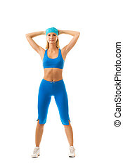 Beautiful young woman doing fitness exercise isolated on white background