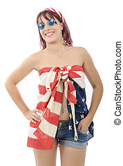 beautiful young woman dressed with american flag