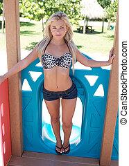 Beautiful young woman enjoying the great outdoors.