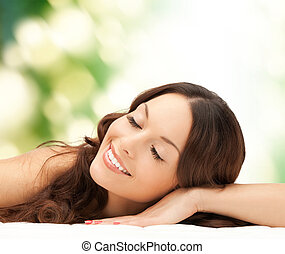 beautiful young woman face - beauty, people and health ...