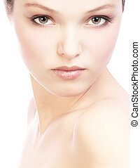 woman face - Beautiful young woman face . Over white...