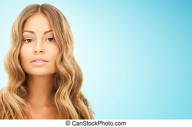 beautiful young woman face with long hair - beauty, hair...
