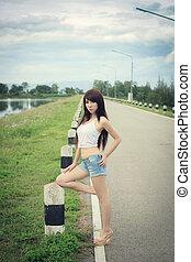 Beautiful young woman fashion model