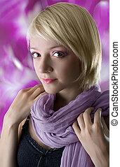 Beautiful young woman, fashion portrait.