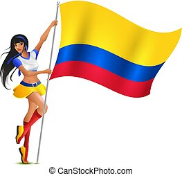Beautiful young woman football cheerleader holding flag of Colombia
