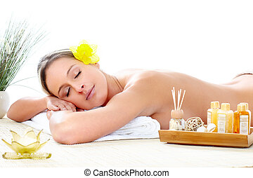 spa massage - Beautiful young woman getting spa massage