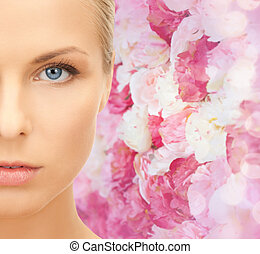 beautiful young woman half face