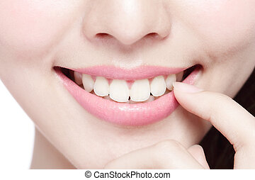 young woman health teeth