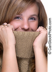 Hiding - Beautiful Young Woman Hiding Inside A Turtle Neck...