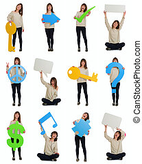 Beautiful young woman holding objects and banner happy with a big smile over a white background. Advertisement concept.
