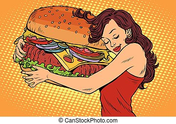 Beautiful young woman hugging Burger. Pop art retro vector vintage illustration. Fast food restaurant, diet and hunger
