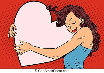 Beautiful young woman hugging Valentine heart Copy space...