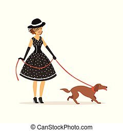 Beautiful young woman in a black polka dot dress and hat walking with her dog, girl dressed in retro style vector Illustration